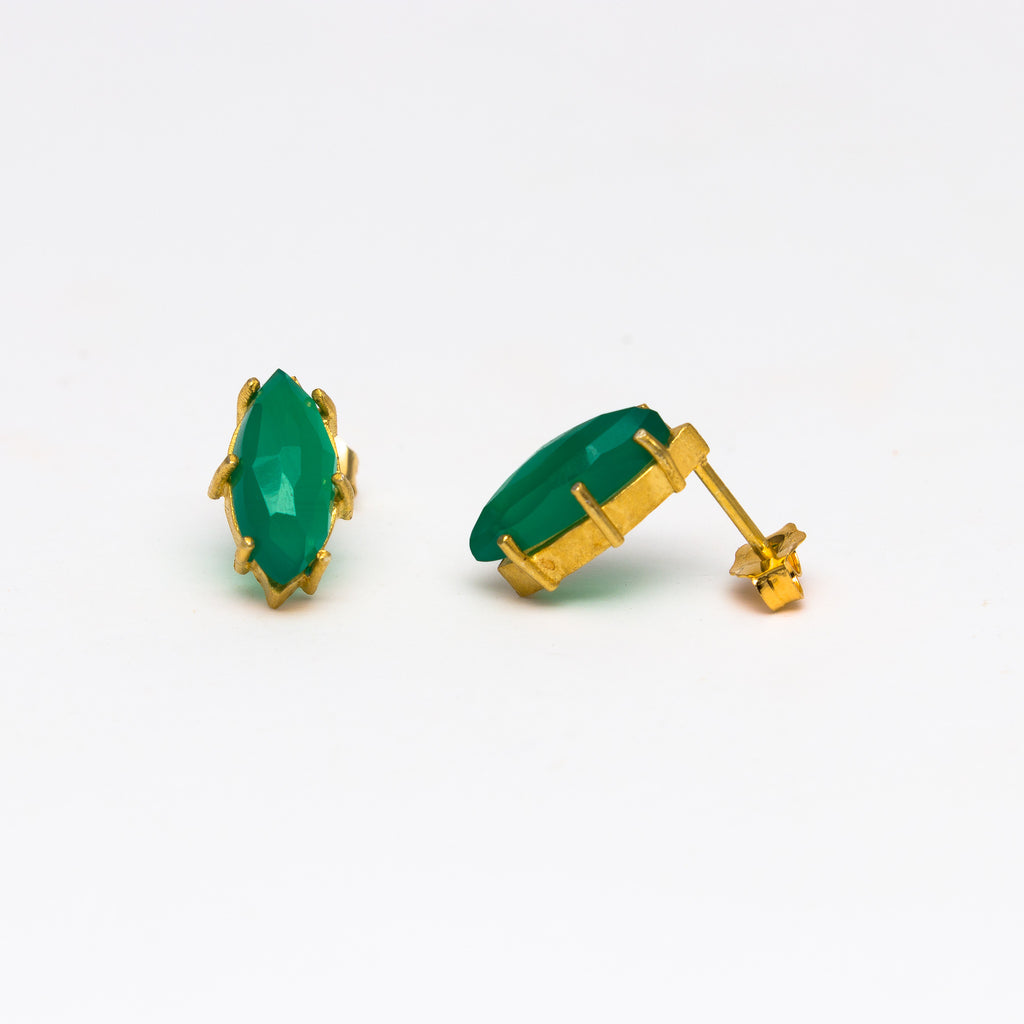 MISHA - Green onyx marque stud earrings