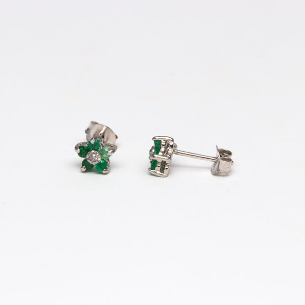 NFC - Emerald and Diamond Flower stud earrings
