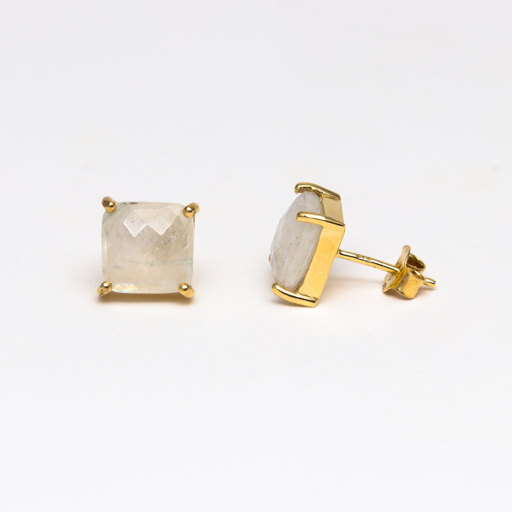 NSC - Moonstone square stud earrings