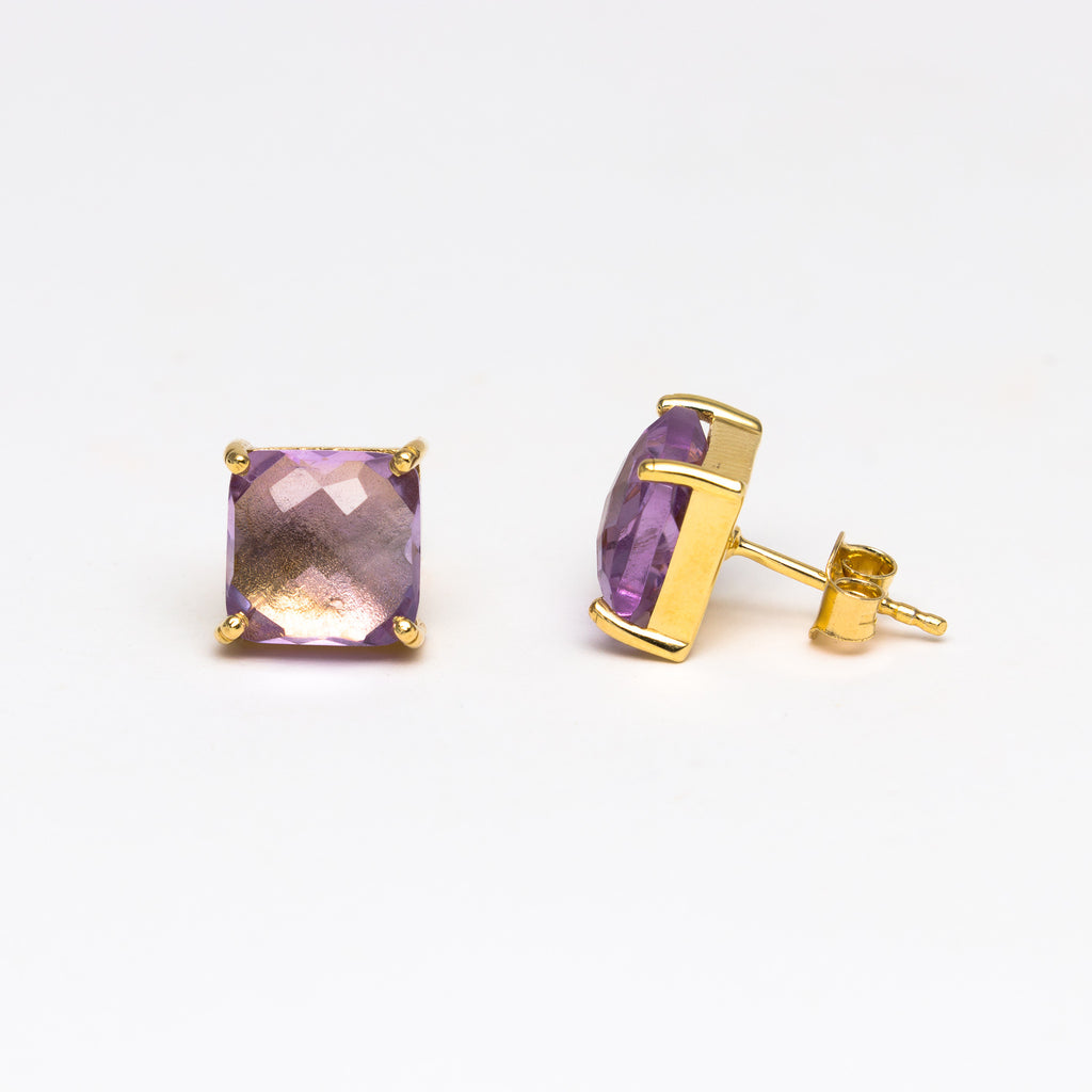 NSC - Amethyst square stud earrings