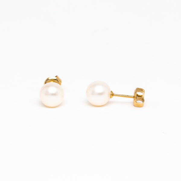 NFC - Fresh Water Pearl studs in Yellow Gold