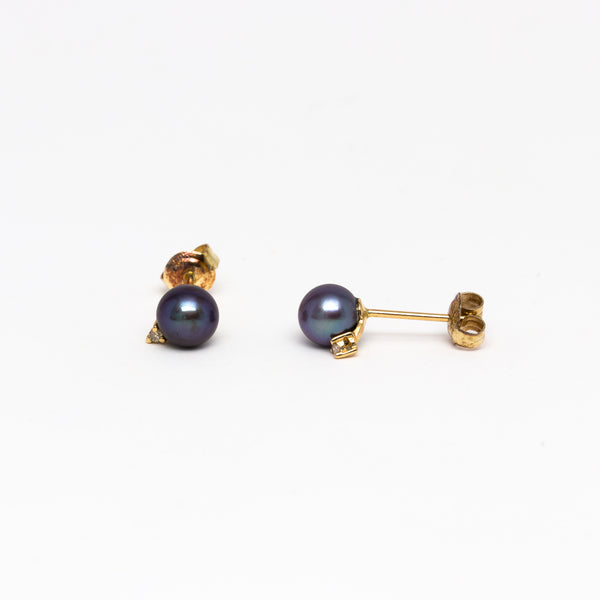 NFC - Black Pearl and Diamond Stud in 14k Yellow Gold