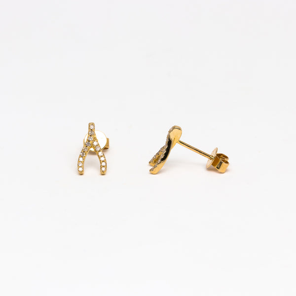 NFC - Diamond Wishbone Stud in Yellow Gold