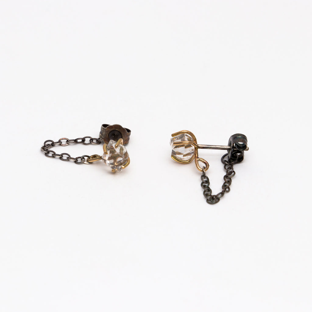 Melissa Joy Manning - Herkimer Post Earrings with chain wrap