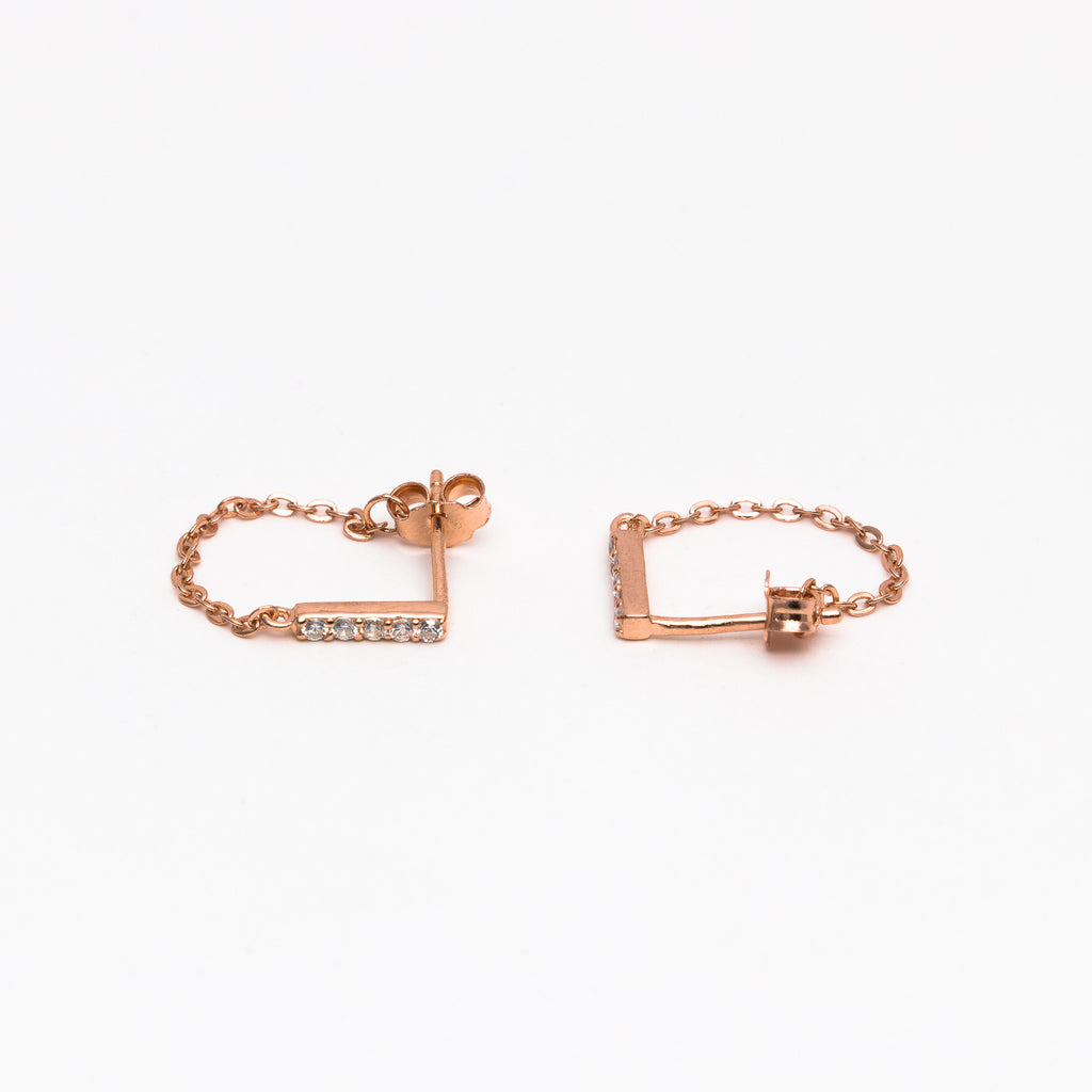 NSC - CZ Bar and Chain Rose Earrings