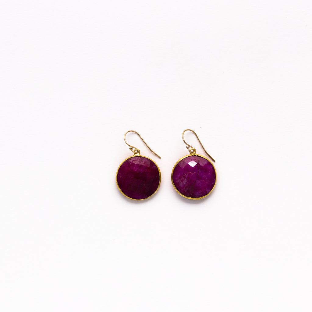 Lhamo - Round Gem Earrings