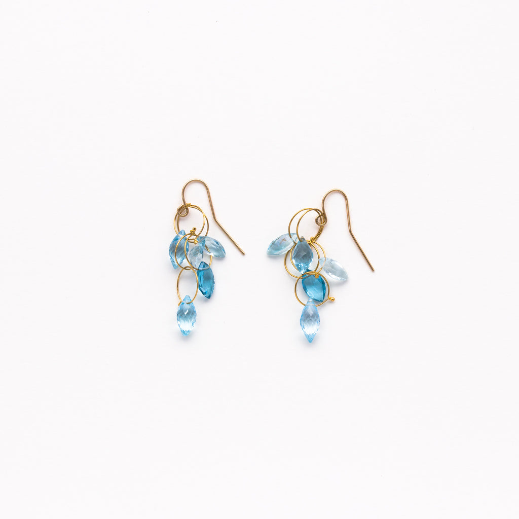Misha - Blue Topaz Large Dangle Earrings