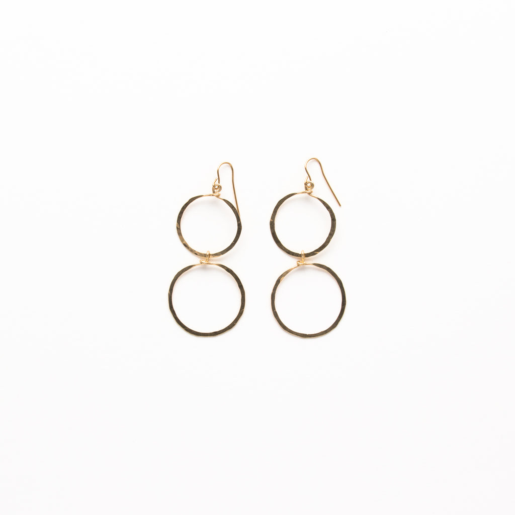 NSC - Hammered Large Double Circle Earrings