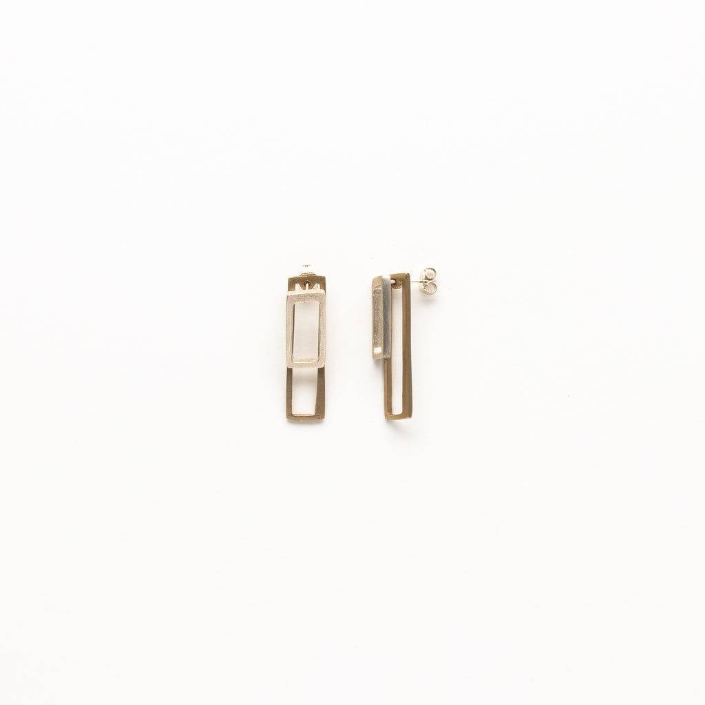 LZZR - Small Silver and Bronze Reck Earrings