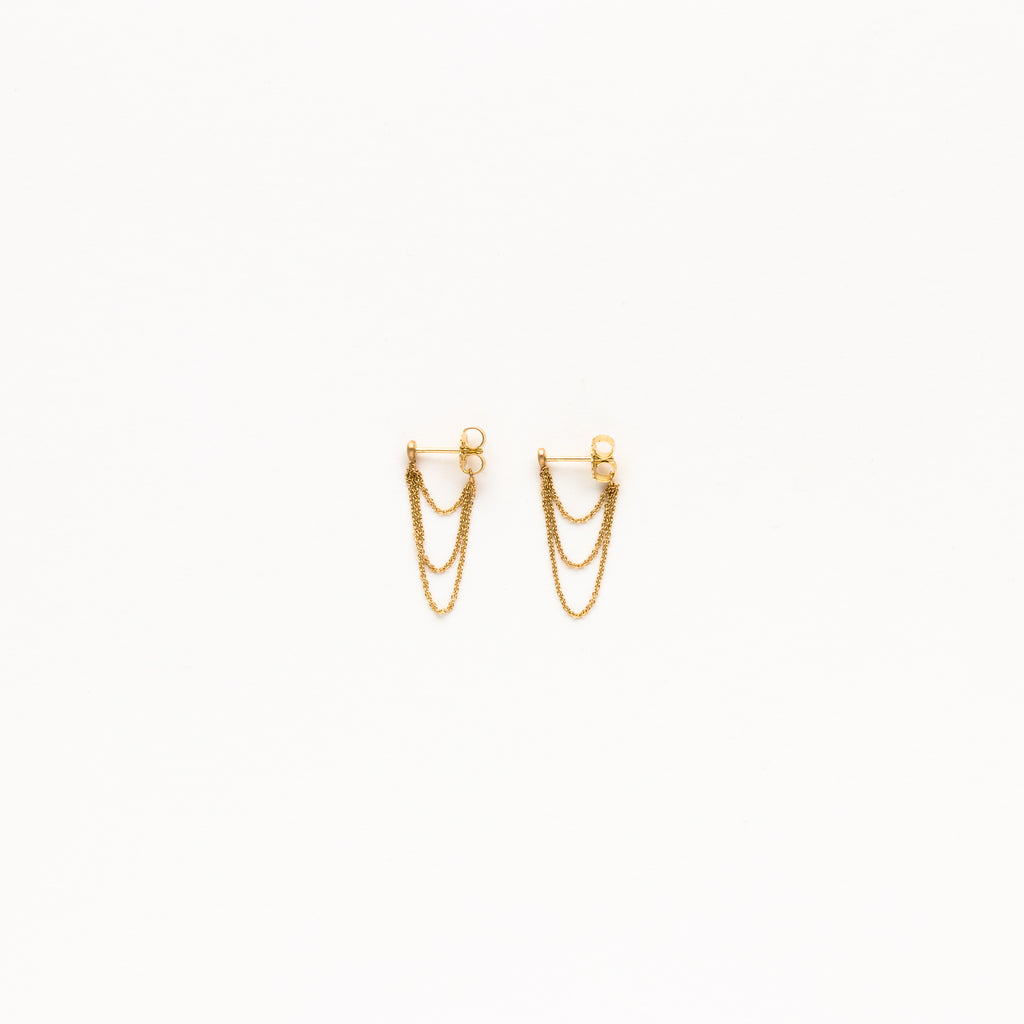 Carla Caruso - Tripe Layered Chain Stud Earrings