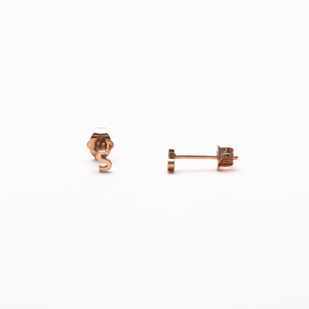 NFC - Single initial studs in rose gold