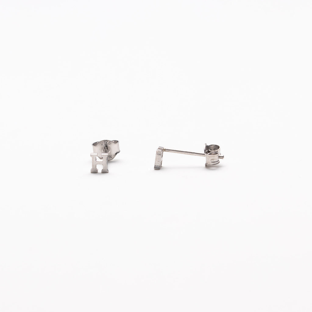 NFC - Single initial studs in silver