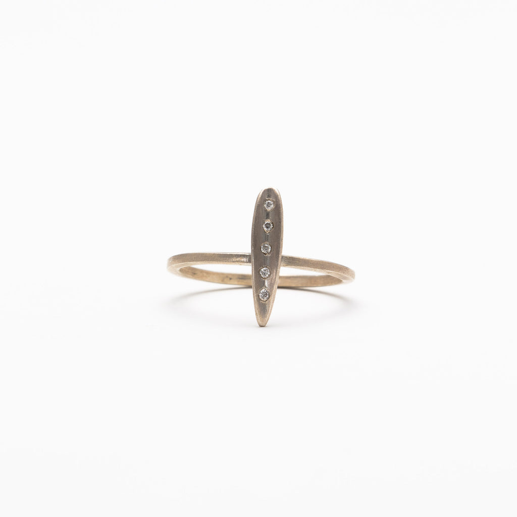 Branch Jewelry - Leaf ring with diamonds