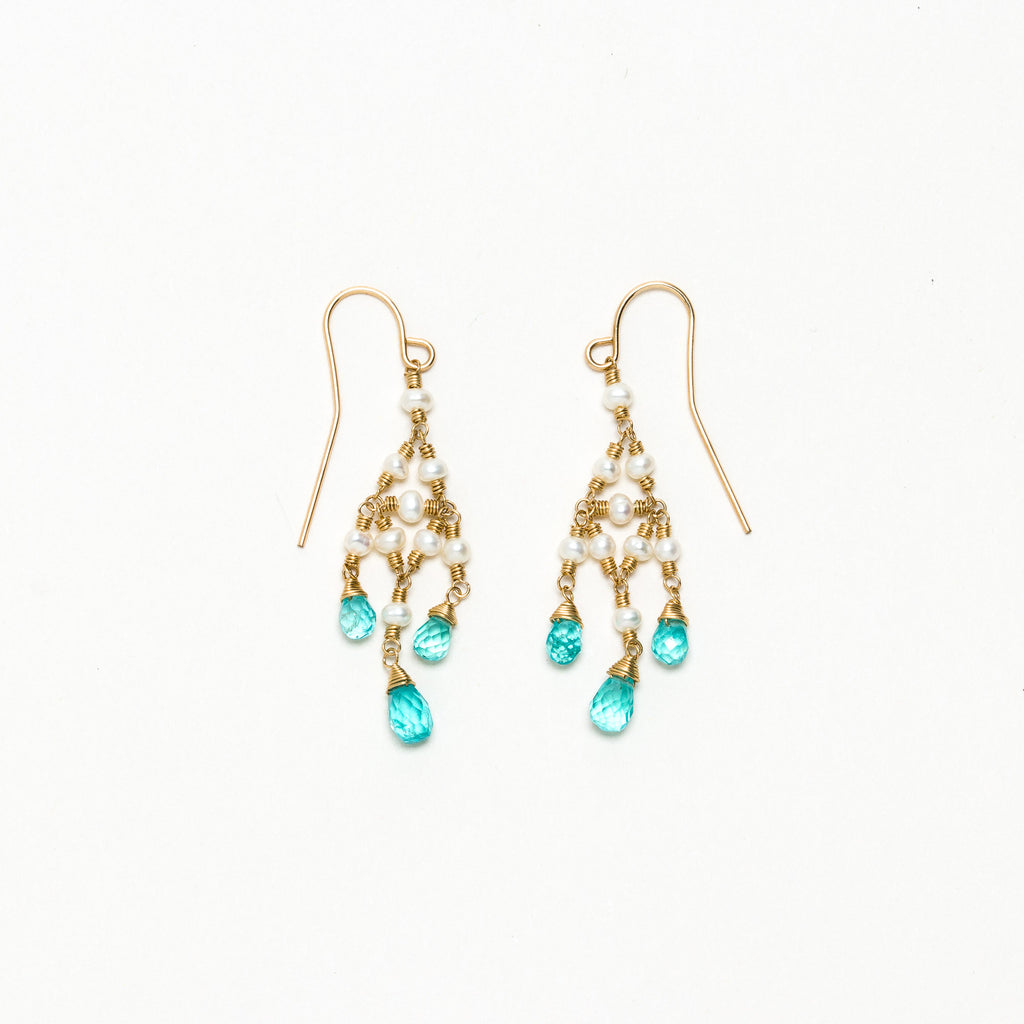 Lina - Pearl and Apatite Earrings