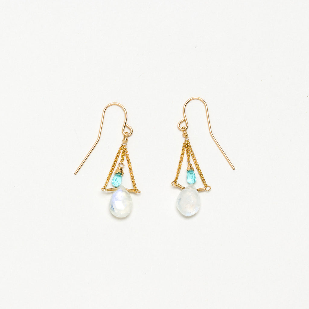Lina - Moonstone and Apatite Earrings
