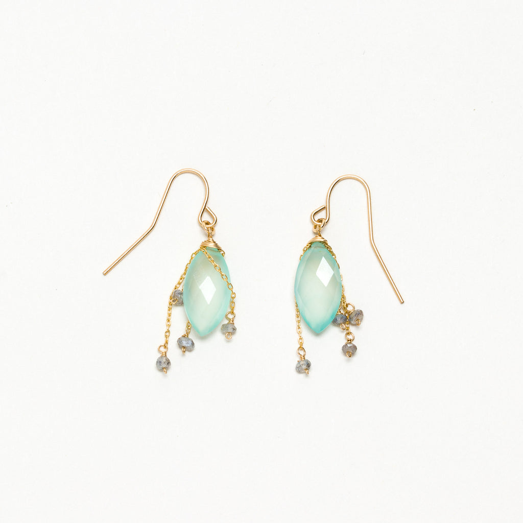 Lina - Chalcedony and Labradorite Earrings
