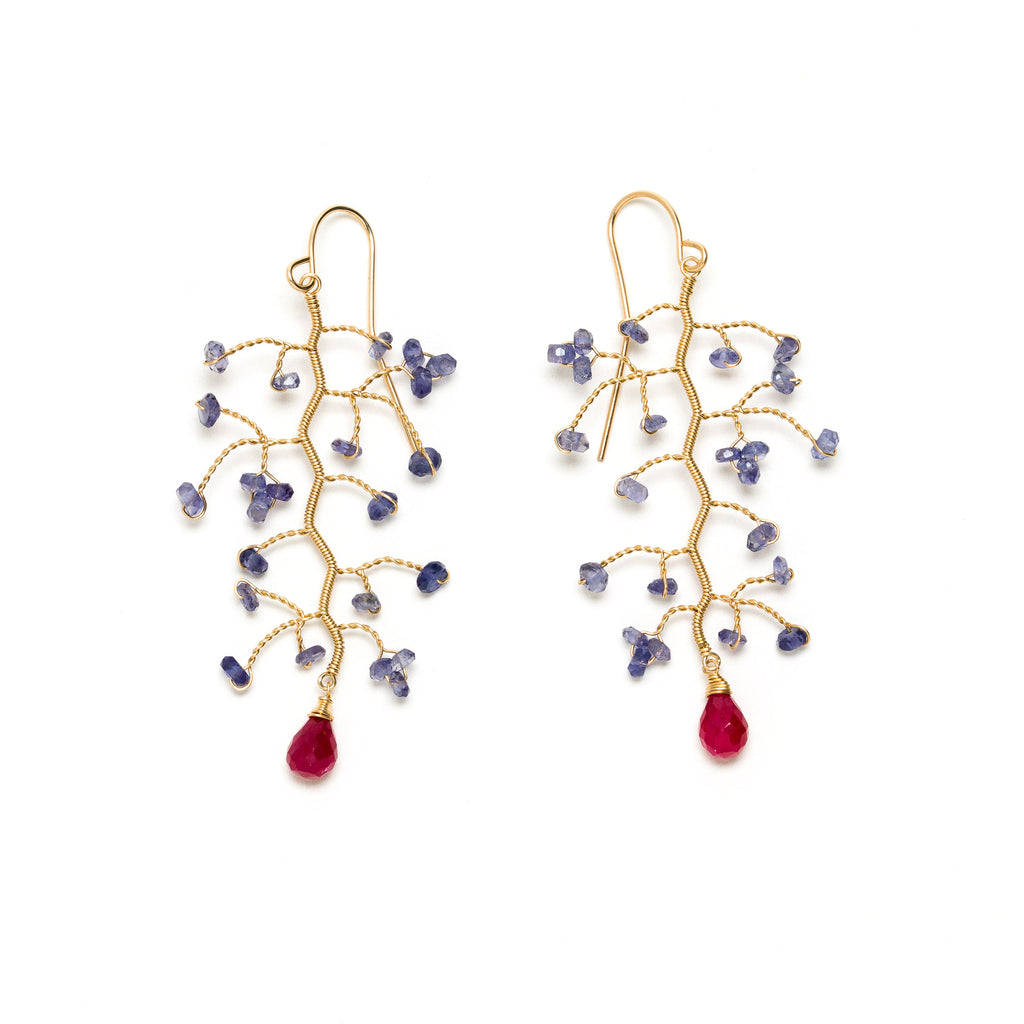Lina - Ruby and Iolite Branch Earrings