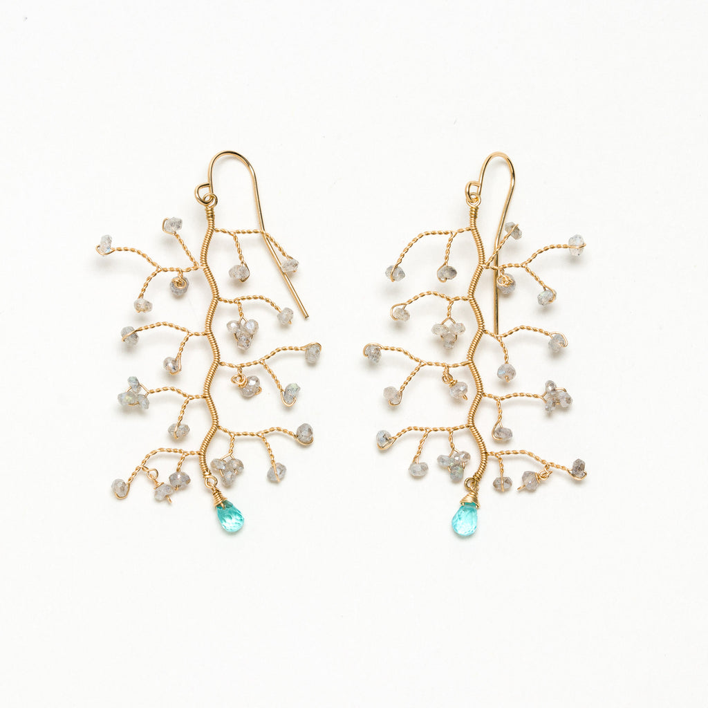 Lina - Labradorite and Apatite Branch Earrings