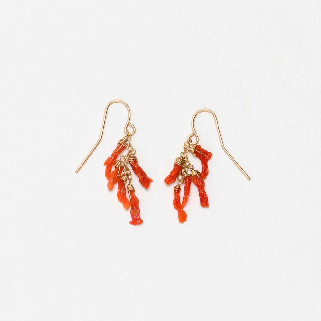 Lina - Coral Cluster Earrings