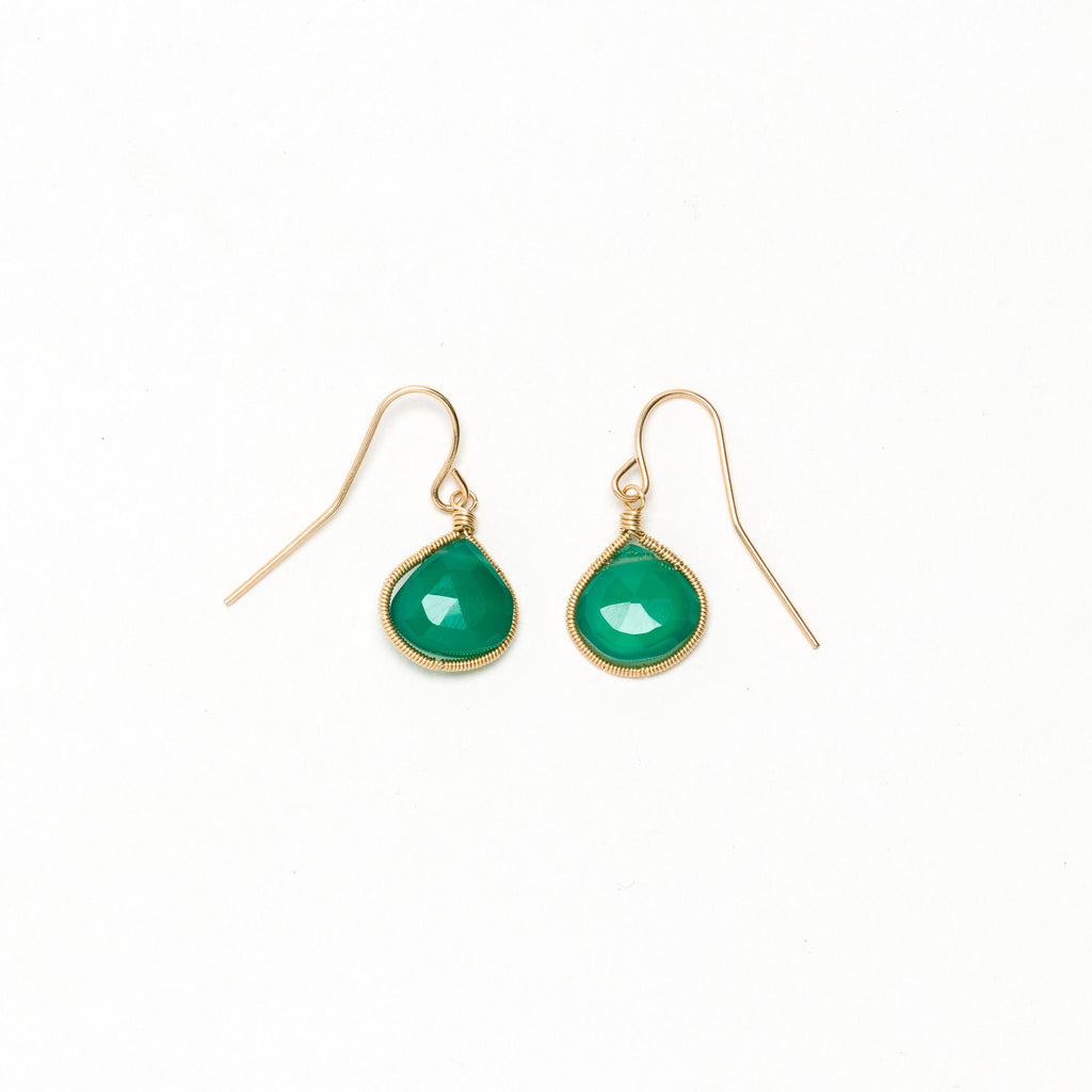 Lina - Green Onyx Drop Earrings
