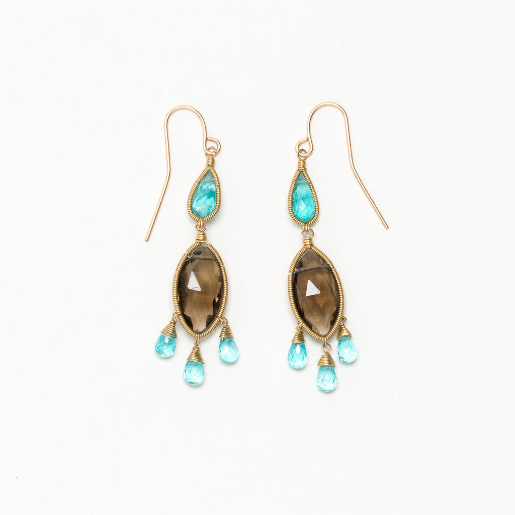 Lina - Smoky and Apatite Earrings