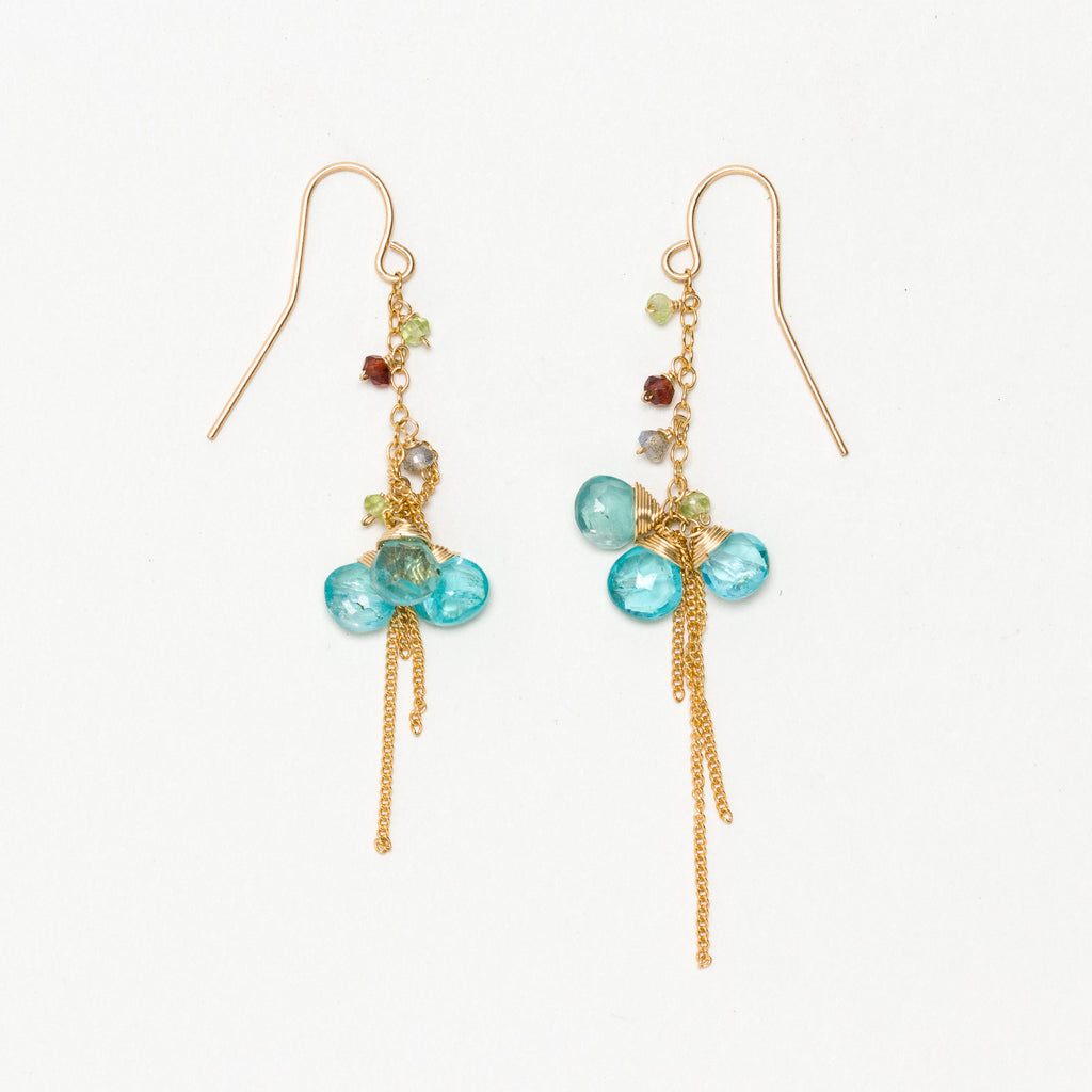 Lina - Apatite and Garnet Earrings