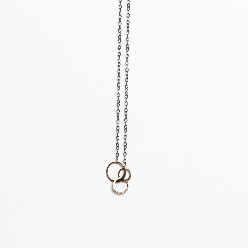 Melissa Joy Manning - Classic 3 Gold Circle and Silver Necklace