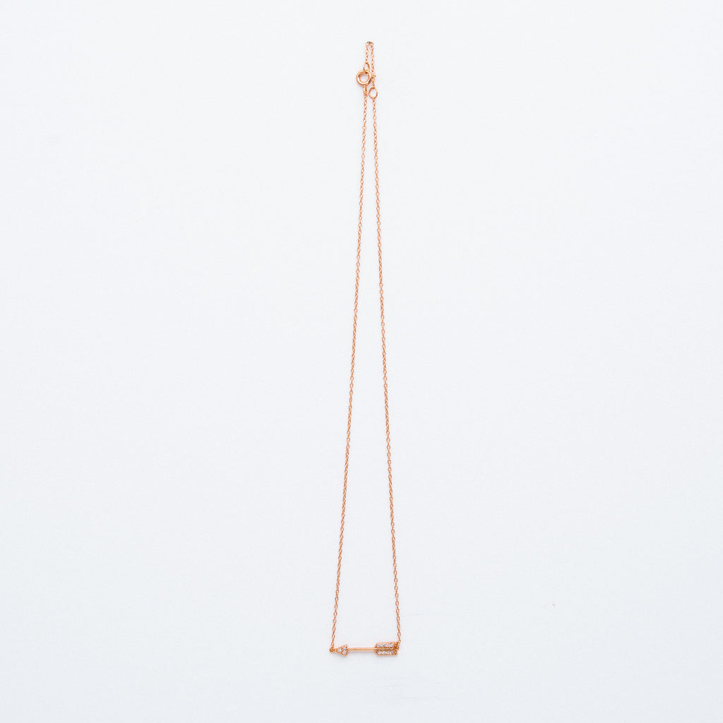 NSC - Sideways Medium CZ Arrow Necklace in Gold Plated