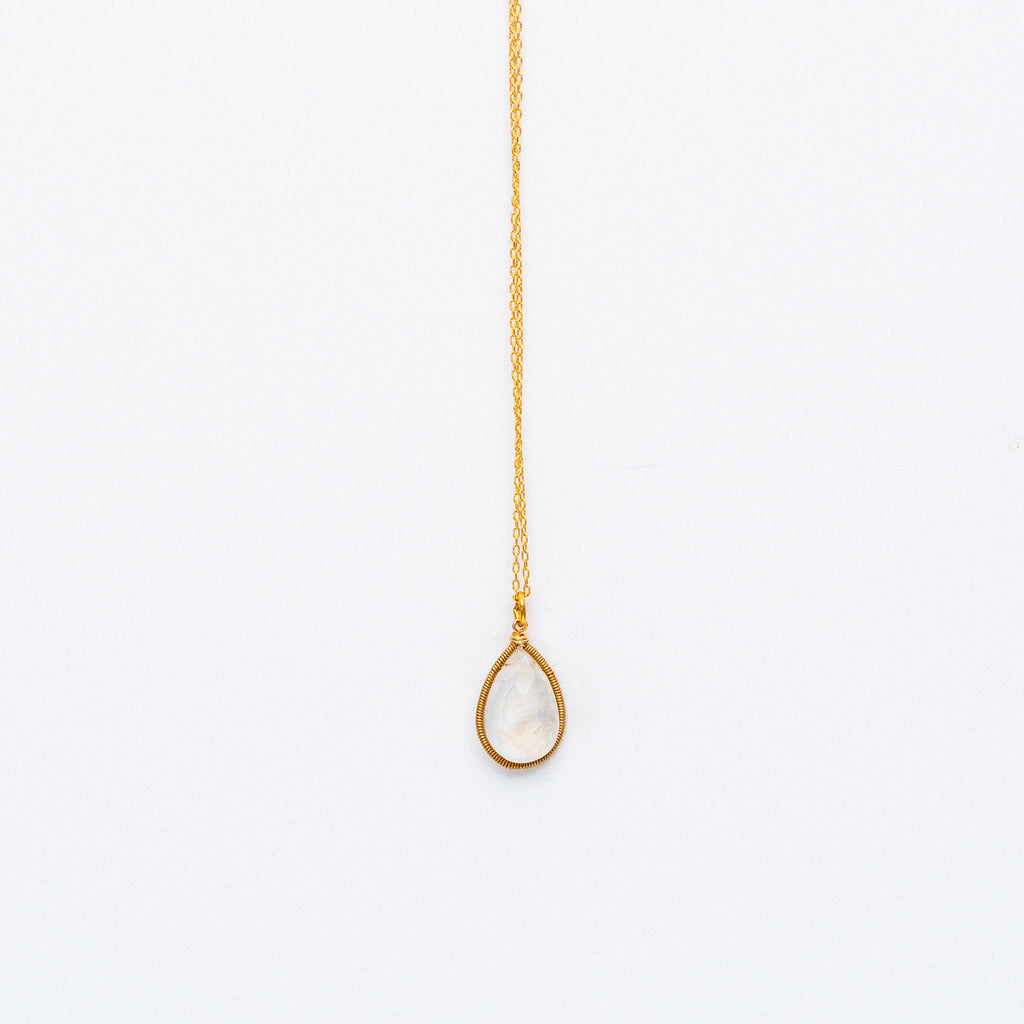 Lina - Moonstone Drop Necklace