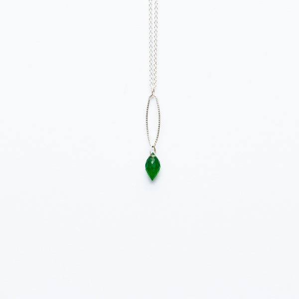Mashka - Green Onyx drop in sterling silver