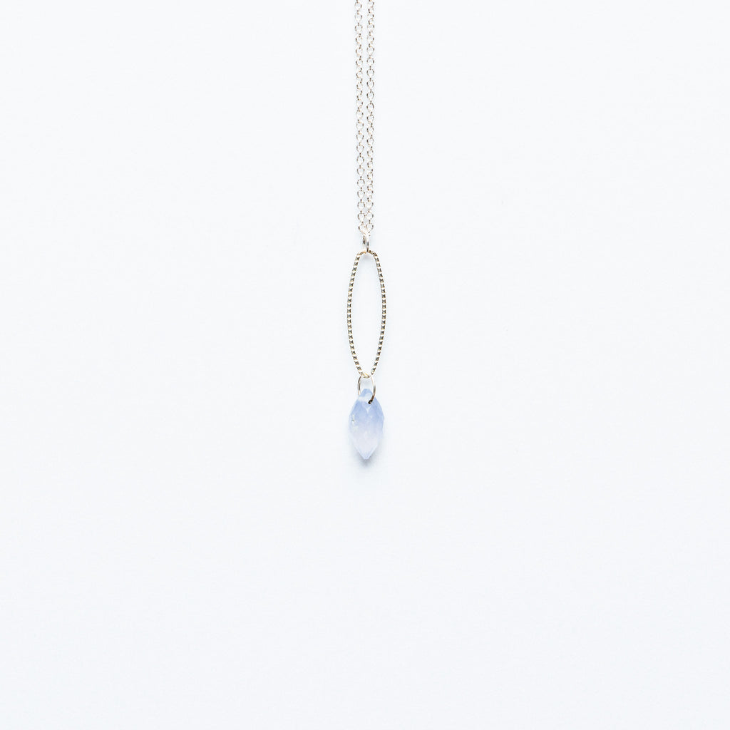 Mashka - Pale Blue Chalcedony drop in sterling silver
