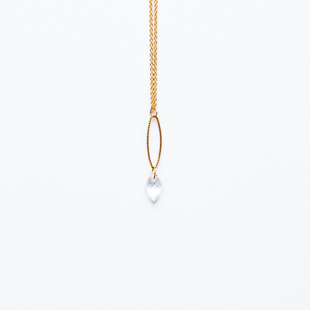 Mashka - White Topaz drop in gold vermeil