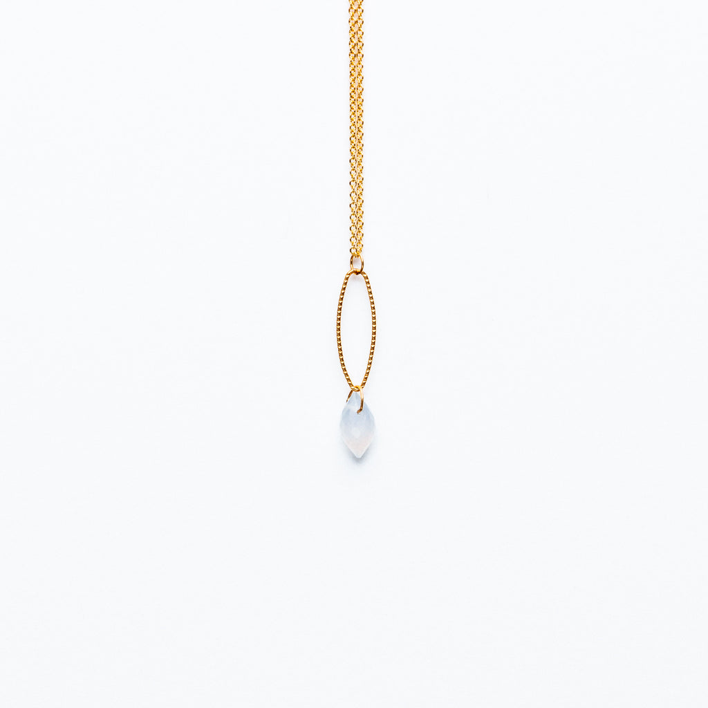 Mashka - Pale Blue Chalcedony drop in gold vermeil