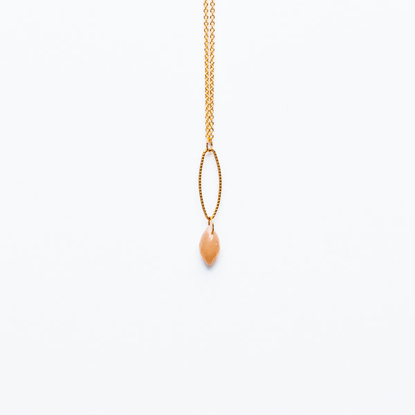Mashka - Cherry quartz drop in gold vermeil