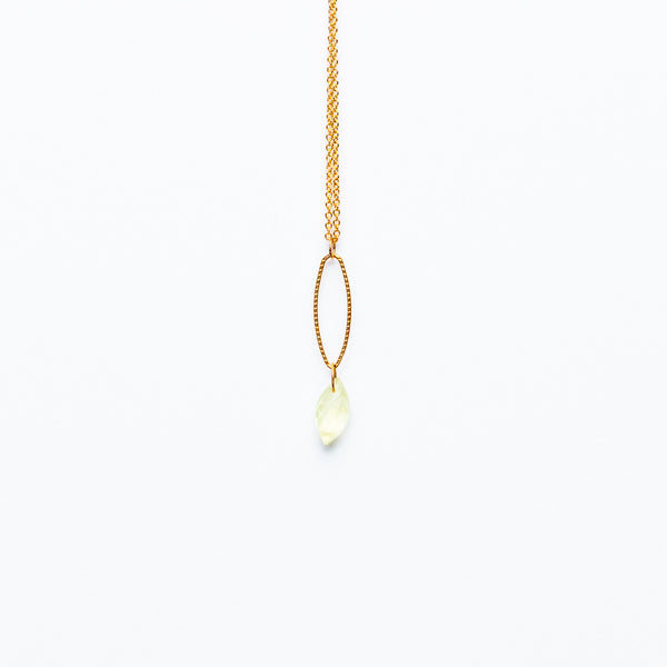 Mashka - Prehnite drop in gold vermeil