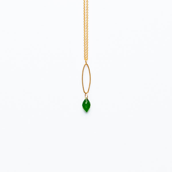 Mashka - Green Onyx drop in gold vermeil