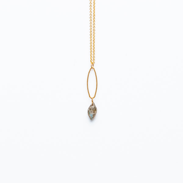 Mashka - Labradorite drop in gold vermeil
