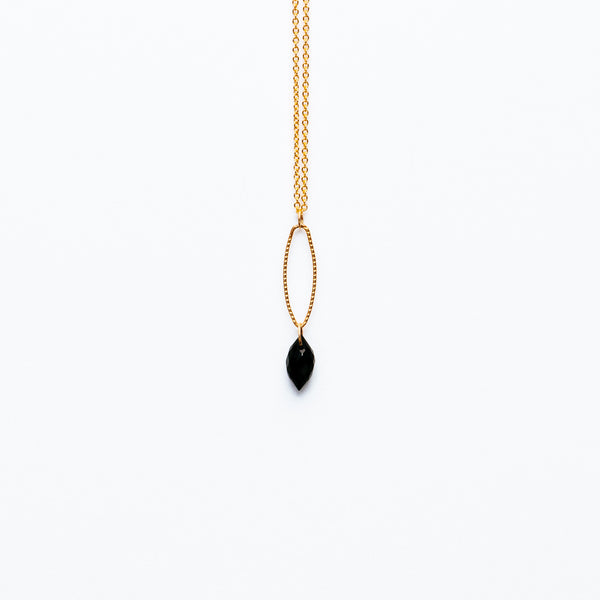 Mashka - Black Spinnel drop in gold vermeil