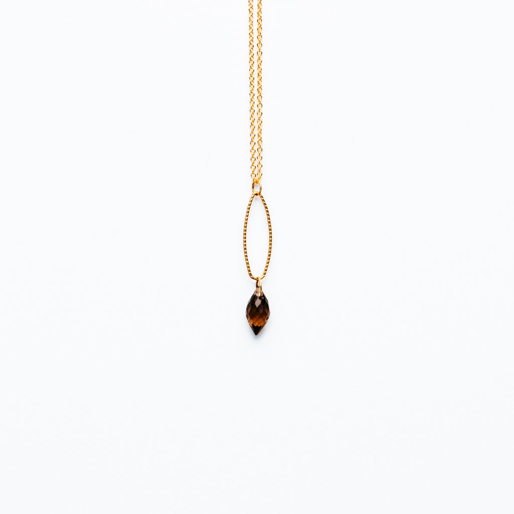 Mashka - Smoky quartz drop in gold vermeil