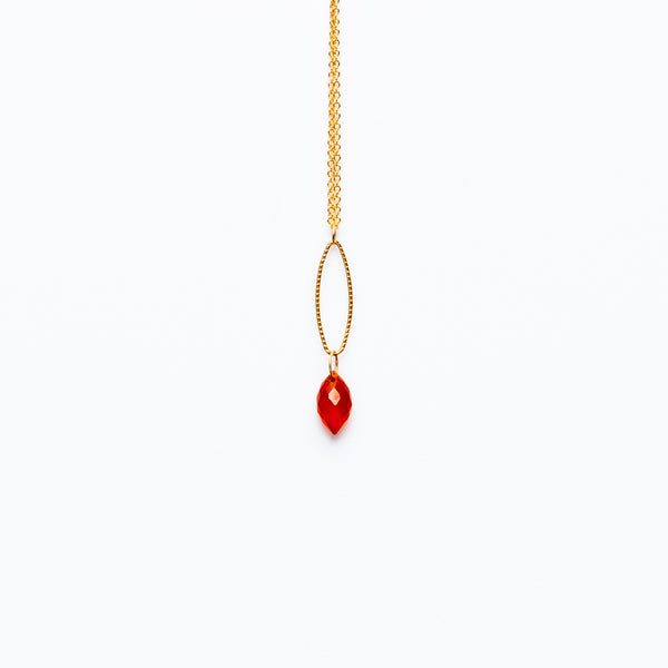 Mashka - Carnelian drop in gold vermeil