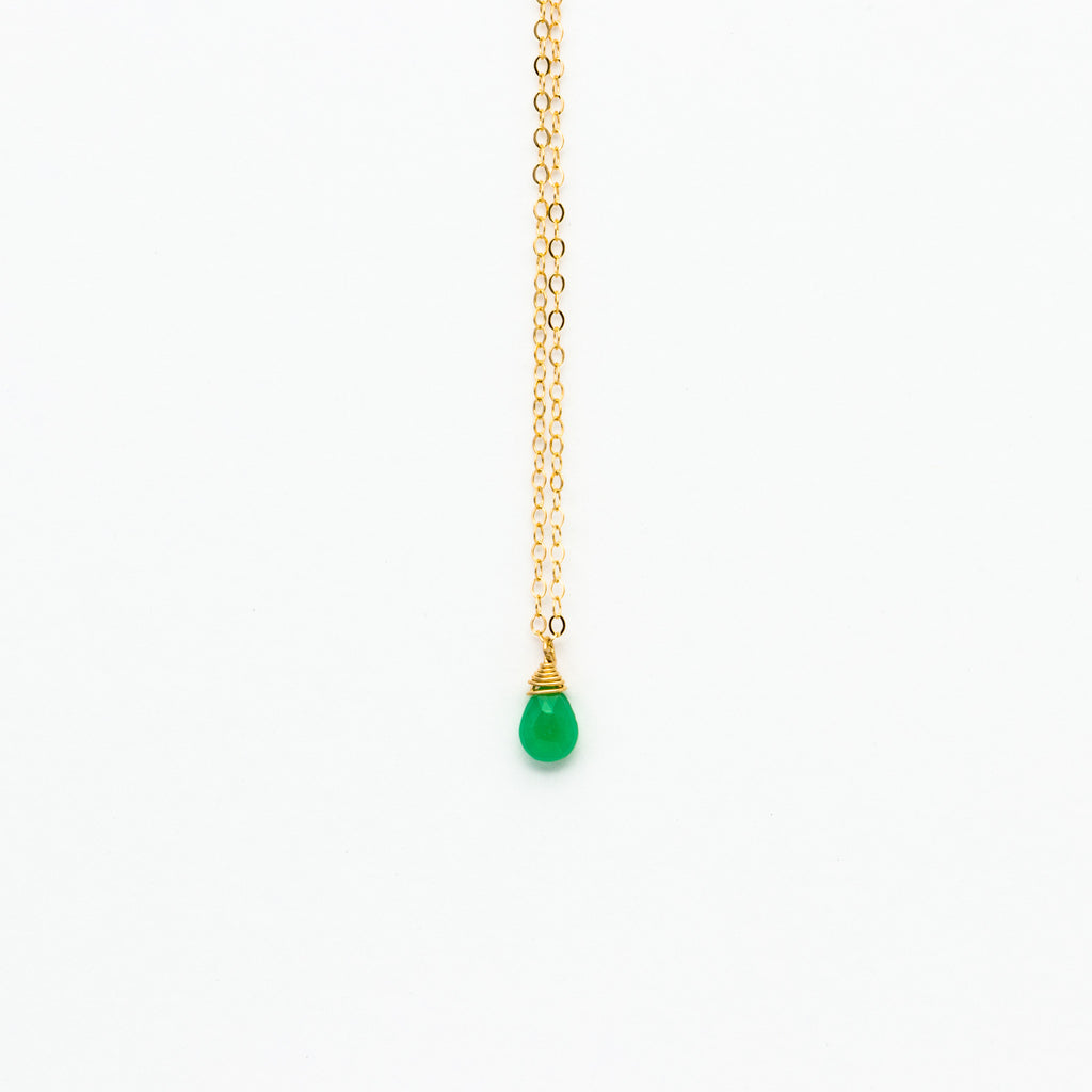 Lhamo - Mini Chrysoprase Teardrop Necklace