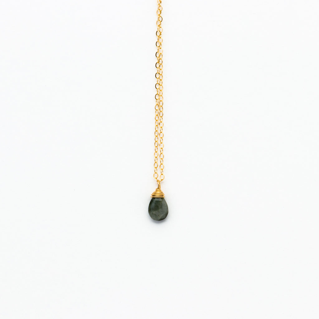 Lhamo - Mini Labradorite Teardrop Necklace