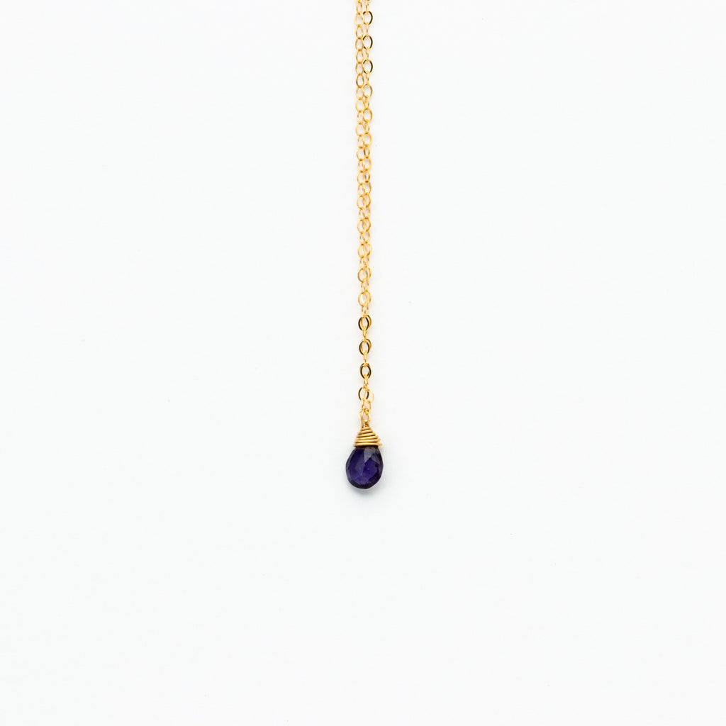 Lhamo - Mini Iolite Teardrop Necklace