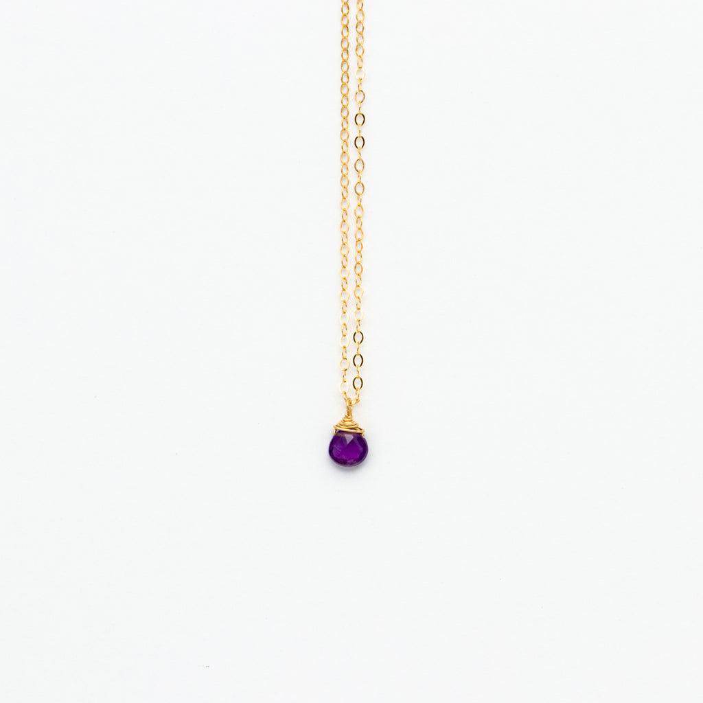 Lhamo - Mini Amethyst Teardrop Necklace