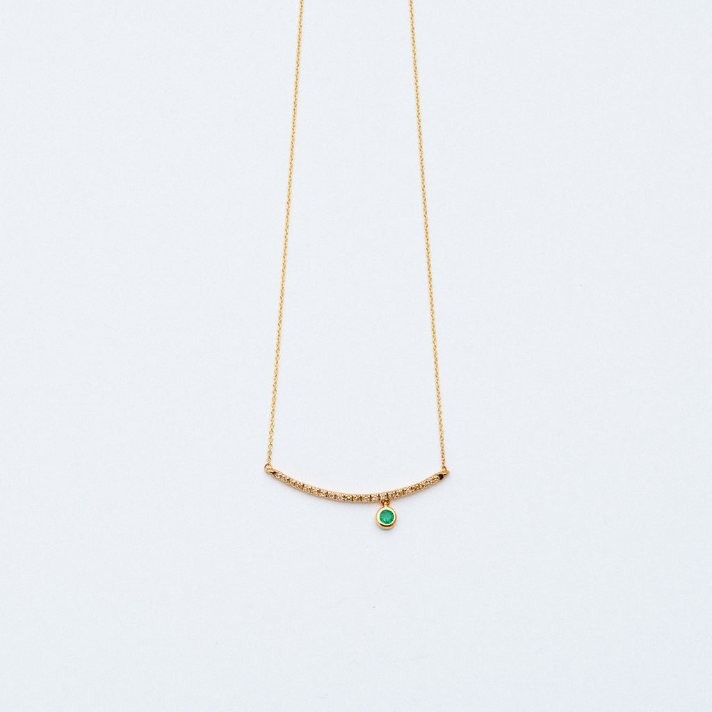 NFC - Pave Curved Bar with Single Emerald Drop Necklace in Yellow Gold