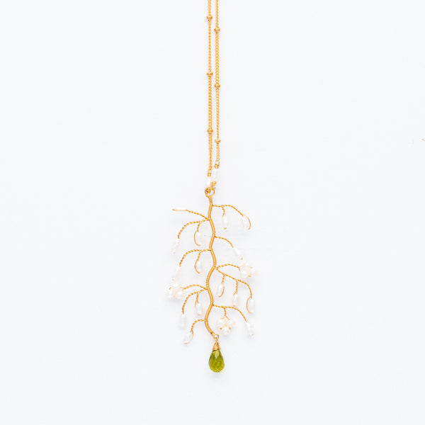 Lina - Peridot and Pearl Branch Necklace