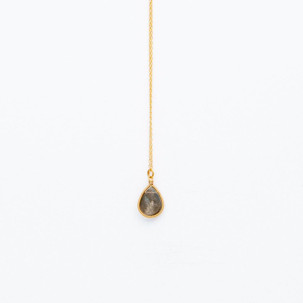 Lina - Labradorite Drop Necklace