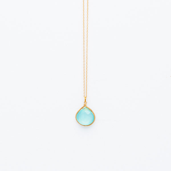 Lina - Chalcedony Drop Necklace