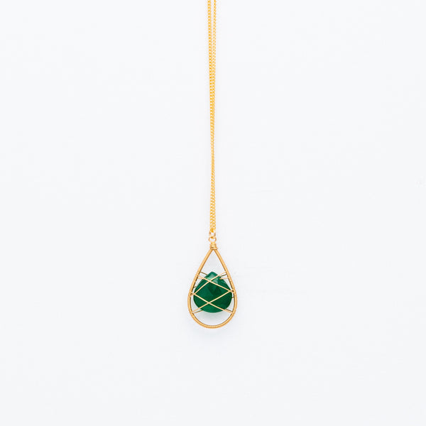 Lina - Wrapped Green Onyx Necklace