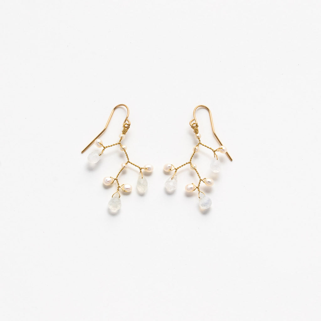 LINA - Mini Pearl and Moonstone branch earrings